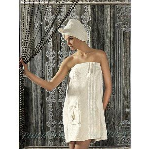 Набор для сауны махровый женский с тапочками PHILIPPUS, кремовый