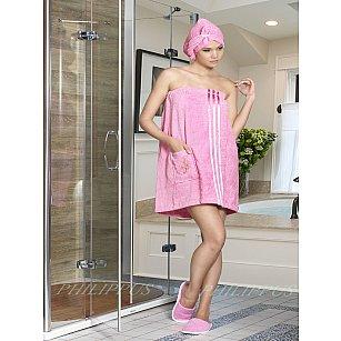 Набор для сауны махровый женский с тапочками PHILIPPUS, розовый