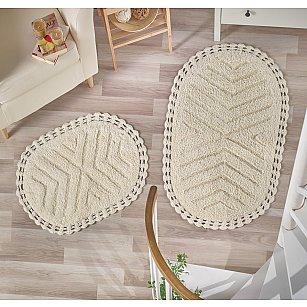 """Набор ковриков для ванной кружевной """"MODALIN CROSS"""" (60*100; 50*70), кремовый"""