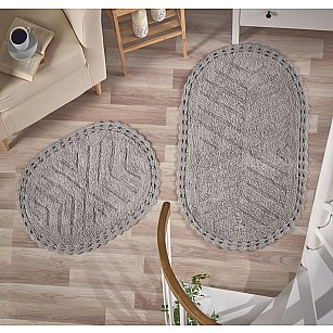 """Набор ковриков для ванной кружевной """"MODALIN CROSS"""" (60*100; 50*70), серый"""