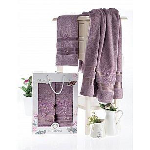 Комплект махровых полотенец с вышивкой TWO DOLPHINS BUTTERFLY (50*90; 70*140), баклажан