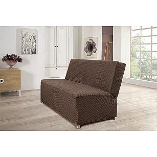 """Чехол для дивана двухместный """"KARNA PALERMO"""" без подлокотников, без юбки, темно-коричневый"""