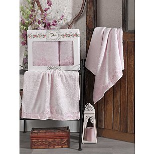 Комплект бамбуковых полотенец SIKEL BERHAMIS (50*90; 70*140), розовый