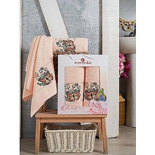 Комплект махровых полотенец Merzuka Butterfly (50*80; 70*130), пудра