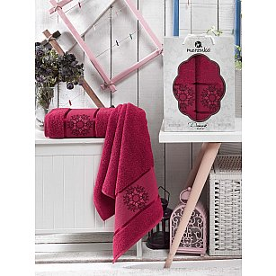 Комплект махровых полотенец MERZUKA DAMASK (50*80; 70*130), бордовый