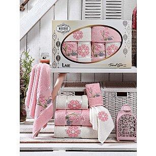 Комплект махровых полотенец MERZUKA LALE (30*50*2; 50*80*2; 70*130*2), светло-розовый