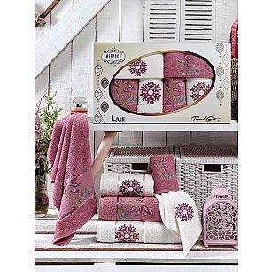 Комплект махровых полотенец MERZUKA LALE (30*50*2; 50*80*2; 70*130*2), брусничный