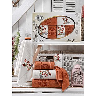 Комплект махровых полотенец MERZUKA LALE (30*50*2; 50*80*2; 70*130*2), терракотовый