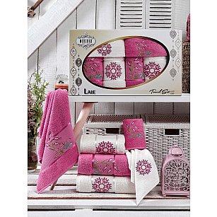 Комплект махровых полотенец MERZUKA LALE (30*50*2; 50*80*2; 70*130*2), темно-розовый