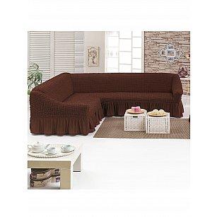 Чехол на угловой диван JUANNA универсальный, коричневый