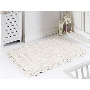 """Махровое кружевное полотенце для ног """"MODALIN EVORA"""", кремовый, 60*100 см"""