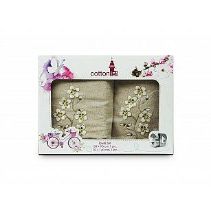 Комплект махровых полотенец Cottonist 3D Kadife дизайн 14 (50*90; 70*140)