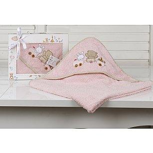 """Полотенце-конверт детский """"KARNA BAMBINO-TRAIN"""", розовый, 90*90 см"""