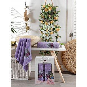 Комплект махровых полотенец Merzuka Butterfly (50*80; 70*130), лиловый