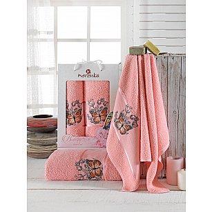 Комплект махровых полотенец Merzuka Butterfly (50*80; 70*130), персиковый