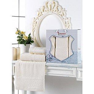 Комплект махровых полотенец Juanna Prizma (50*90*2; 70*140), кремовый