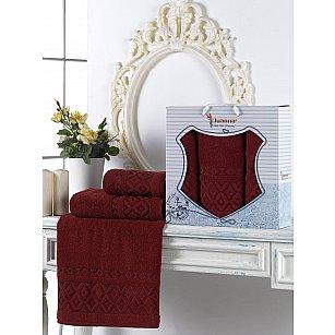 Комплект махровых полотенец Juanna Prizma (50*90*2; 70*140), бордовый
