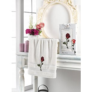Полотенце махровое в коробке TWO DOLPHINS ROSE LOVE, кремовый, 50*90 см