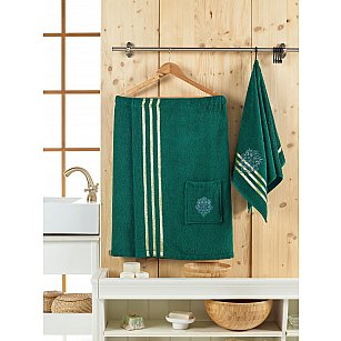 Набор для сауны махровый мужской JUANNA SEVAKIN, темно-зеленый