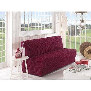 """Чехол для дивана """"KARNA"""" двухместный без подлокотников, без юбки, бордовый"""