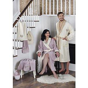 """Набор семейный из халатов и полотенец """"KARNA ADRA"""", кремовый, светло-лаванда"""