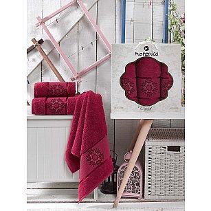 Комплект махровых полотенец MERZUKA DAMASK (50*80*2; 70*130), бордовый