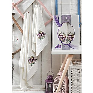 Комплект махровых полотенец MERZUKA VIOLET (50*80; 70*130), кремовый