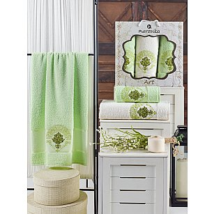 Комплект махровых полотенец MERZUKA ART (50*90*2; 70*140), фисташковый