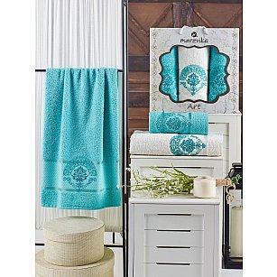 Комплект махровых полотенец MERZUKA ART (50*90*2; 70*140), бирюзовый