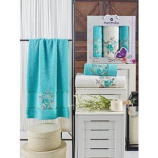Комплект махровых полотенец MERZUKA DREAMS FLOWER (50*90*2; 70*140), бирюзовый