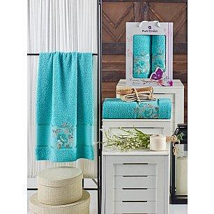 Комплект махровых полотенец MERZUKA DREAMS FLOWER (50*90; 70*140), бирюзовый