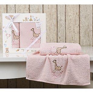 "Комплект полотенец детский ""KARNA BAMBINO-GIRAFFE"" (50*70; 70*120), розовый"