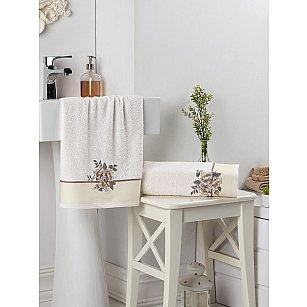 """Комплект махровых полотенец с вышивкой """"KARNA FLORYA"""" (50*90; 70*140), кремовый"""