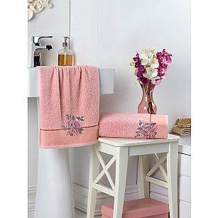 """Комплект махровых полотенец с вышивкой """"KARNA FLORYA"""" (50*90; 70*140), пудра"""
