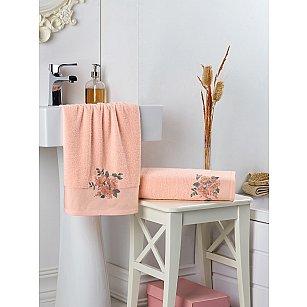 """Комплект махровых полотенец с вышивкой """"KARNA FLORYA"""" (50*90; 70*140), абрикосовый"""