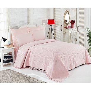 Покрывало ранфорс DO&CO с простыней и наволочками ORIENTAL, розовый, 220*240 см