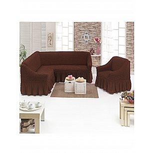 Набор чехлов для углового дивана и кресла JUANNA 3+1, коричневый