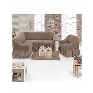 Набор чехлов для углового дивана и кресла JUANNA 3+1, светло-коричневый