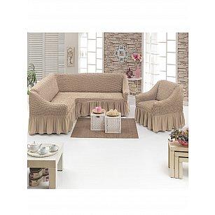 Набор чехлов для углового дивана и кресла JUANNA 3+1, песочный