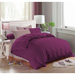 КПБ мако-сатин однотонный Leila, фиолетовый, розовый