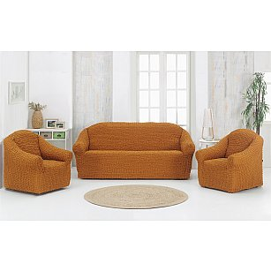 "Набор чехлов для дивана и кресел ""KARNA"" 3+1+1 , без юбки, горчичный"