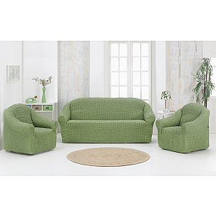 "Набор чехлов для дивана и кресел ""KARNA"" 3+1+1 , без юбки, зеленый"
