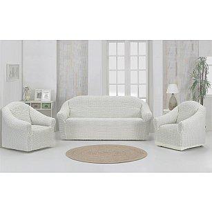 """Набор чехлов для дивана и кресел """"KARNA"""" 3+1+1 , без юбки, натурал"""