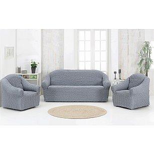 """Набор чехлов для дивана и кресел """"KARNA"""" 3+1+1 , без юбки, серый"""