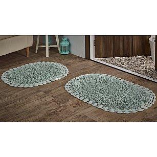 """Набор ковриков для ванной кружевной с люрексом """"MODALIN DUAL"""" (50*80; 45*60), светло-зеленый"""
