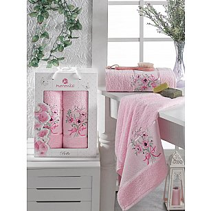 Комплект махровых полотенец MERZUKA BELLA (50*80; 70*130), светло-розовый