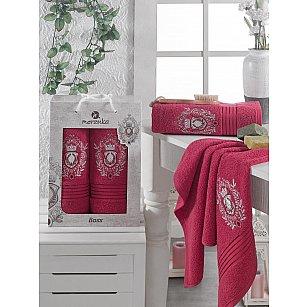 Комплект махровых полотенец MERZUKA BOSS (50*80; 70*130), бордовый
