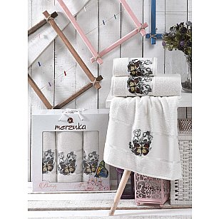 Комплект махровых полотенец MERZUKA BUTTERFLY (50*80*2; 70*130), кремовый