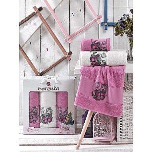 Комплект махровых полотенец MERZUKA BUTTERFLY (50*80*2; 70*130), светло-лиловый