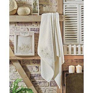 "Полотенце махровое в коробке ""IRYA ROMANTIC"" с французским гипюром, молочный"
